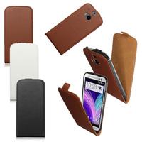 Флип-кейс на HTC One m8 кожа, магнитный с язычком, коричневый