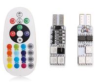 Лампы LED, T10, RGB, управление с ПДУ, 6 диодов, 2 шт.