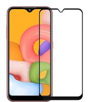 Защитное стекло Samsung Galaxy A01/M01 на дисплей, с рамкой, 4D, черный