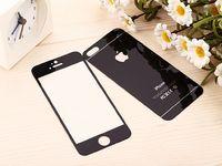 Цветное защитное стекло для Apple iPhone 5/5S/SE комплект, черный (УЦЕНКА: трещина)