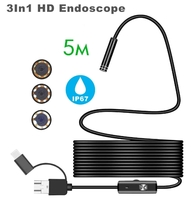 Камера эндоскоп microUSB/USB, Орбита OT-SME14, 8мм, 5м, 1280*720, IP67, жесткий, с подсветкой