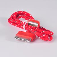 Кабель для iPhone 4/4S, iPad 2,3, iPod, переплет, красный, 1м