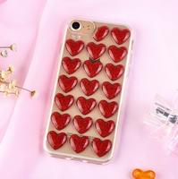 Чехол-накладка на Apple iPhone 7/8, силикон, 3D, сердца, красный