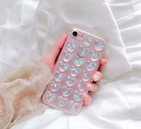 Чехол-накладка на Apple iPhone 7/8 Plus, силикон, 3D, сердца, прозрачно-голубой