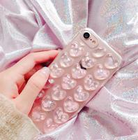 Чехол-накладка на Apple iPhone 7/8 Plus, силикон, 3D, сердца, прозрачно-розовый