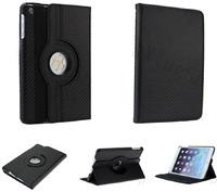 Чехол Smart-cover для Apple iPad mini 1,2,3, полиуретан, вращающийся, карбон, черный