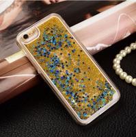 Чехол-накладка на Apple iPhone 5/5S, пластик, плавающий гель, звезды, желтый
