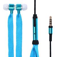 Гарнитура проводная, 3,5мм, Noname, шнурок, голубой