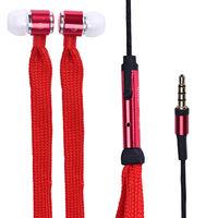 Гарнитура проводная, 3,5мм, Noname, шнурок, красный