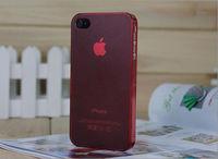 Чехол-накладка на Apple iPhone 4/4S, пластик, тонкий, матовый, красный