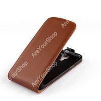 Флип-кейс на Samsung S4 mini кожа, магнитный с язычком, коричневый