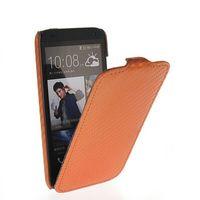 Флип-кейс на HTC Desire 601 кожа, карбон, коричневый