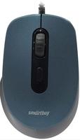 Мышь проводная, Smart Buy 265-B, оптическая, 3кн, беззвучная, синий