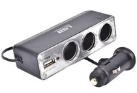 Разветвитель автоприкуривателя TDS TS-CAU23 (3 выхода + 1 USB)