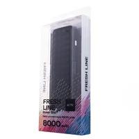 Портативный аккумулятор PowerBank 8000mAh, Activ Fresh Line A151-01, 1xUSB, фонарь, черный