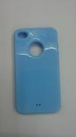 Чехол-накладка на Apple iPhone 4/4S, силикон, вырез, голубой