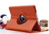 Чехол Smart-cover для Apple iPad mini 1,2,3, кожа, вращающийся, оранжевый