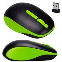 Мышь беспроводная, Noname, оптическая, 3кн, матовая, черно-зеленый