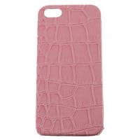 Чехол-накладка на Apple iPhone 5/5S, пластик, крок. кожа, розовый
