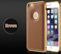 Чехол-накладка на Apple iPhone 6/6S Plus, алюминий, кожа, коричневый