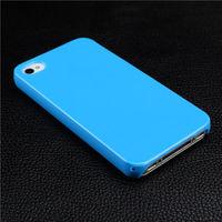 Чехол-накладка на Apple iPhone 4/4S, пластик, глянцевый, синий