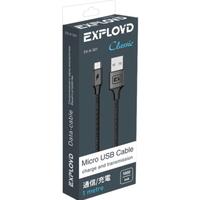 Кабель microUSB Exployd EX-K-501, переплет, черный, 1м