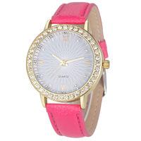 Часы наручные Geneva, ц.серый, р.розовый, кожа, стразы
