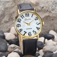 Часы наручные Geneva, ц.белый, р.черный, кожа