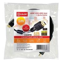 Кабель видео HDMI, D-Color DCCHH100F, 1.4v, 1м, с фильтрами, черный