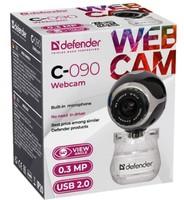 Веб-камера Defender C-090, 0.3 Мп, универ. крепл., черный