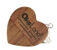 Память USB 2.0 Flash, 32GB, BiNFUL, дерево, wood №7 heart, dark wood