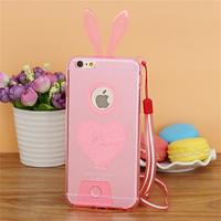 Чехол-накладка на Apple iPhone 5/5S, силикон, заячьи уши, розовый