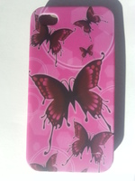 Чехол-накладка на Apple iPhone 4/4S, силикон, pink butterfly