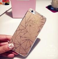Чехол-накладка на Apple iPhone 7/8 Plus, силикон, блестящий, геом, золотистый