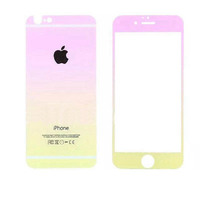 Цветное защитное стекло для Apple iPhone 5/5S/SE комплект, градиент, розово-желтый