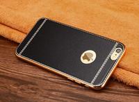 Чехол-накладка на Apple iPhone 6/6S, силикон, под кожу, золот. окантовка, черный