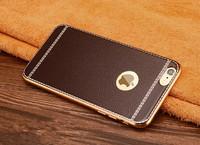Чехол-накладка на Apple iPhone 6/6S, силикон, под кожу, золот. окантовка, коричневый