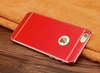 Чехол-накладка на Apple iPhone 6/6S, силикон, под кожу, золот. окантовка, красный