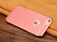 Чехол-накладка на Apple iPhone 6/6S, силикон, под кожу, золот. окантовка, розовый