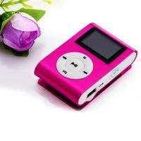 MP3-плеер с дисплеем, клипса, microSD, (без кабеля, без наушников), розовый