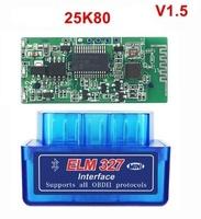 Диагностический сканер ELM327 OBD2 v.1.5, Bluetooth, SOBD, синий, 25K80, bpack