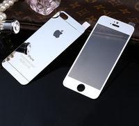 Цветное защитное стекло для Apple iPhone 5/5S/SE комплект, серебристый