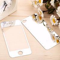 Цветное защитное стекло для Apple iPhone 4/4S комплект, серебристый