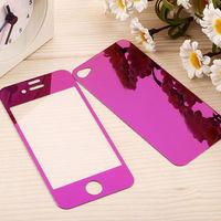 Цветное защитное стекло для Apple iPhone 4/4S комплект, фиолетовый