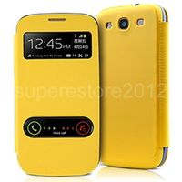 Чехол-книжка на Samsung S3 кожа, с окном, желтый