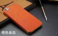 Чехол-накладка на Apple iPhone 4/4S, пластик, кожа, оранж/зол