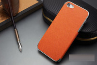 Чехол-накладка на Apple iPhone 4/4S, пластик, кожа, оранж/хром
