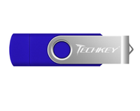 Память USB 2.0 Flash, 42GB, TechKey, OTG, синий