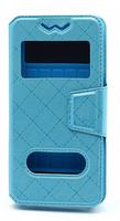 """Чехол-книжка универсальная, силик.бампер, S-view 4.0""""-4.3"""", с подставкой, голубой"""