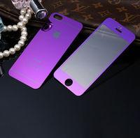 Цветное защитное стекло для Apple iPhone 5/5S/SE комплект, фиолетовый